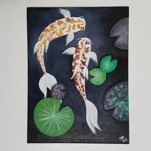 Acrylic Painting Relaxing Koi Pond 16x12